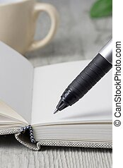 A close up of a pen and an open journal diary notebook