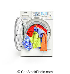 A close up of a washing machine loaded with clothes isolated on white background