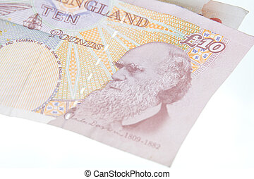 Charles Darwin - A close up of Charles Darwin on a English...