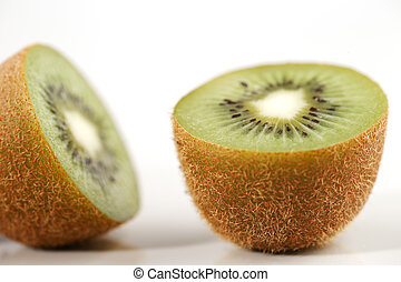 A close-up of cross section of kiwi