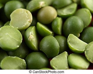 a close-up on split peas