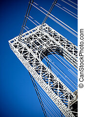 George Washington Bridge - A close up portion of the large ...
