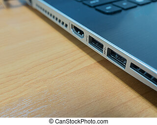 A Close Up View of Notebook PC ports on desk