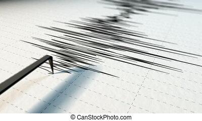 A close view of a seismograph arrow.