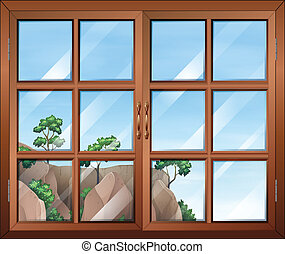 A closed wooden window with glass Illustration of a closed
