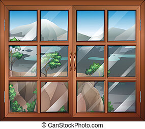 A closed window near the cliff