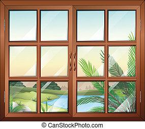 A closed window near the pond