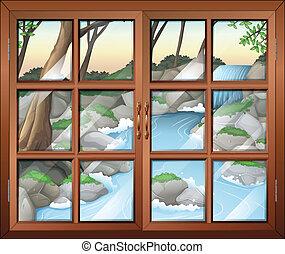 A closed window near the waterfall