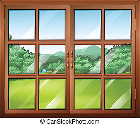 A closed window with a view of the green surroundings - ...