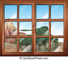 Illustration of a closed window with a view of the two clip art