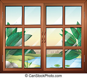 A closed window with a view of the pond
