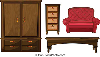 A closet, drawer, table and couch - Illustration of a...