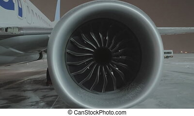 A closeup of an airplane engine - A closeup of a big...