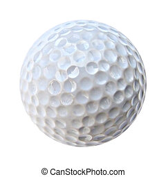 a closeup of an isolated white golf ball