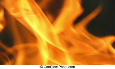 A closeup of dancing flame forks in the black background