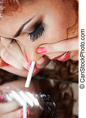 a girl using drugs