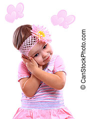 A closeup portrait of a happy little girl against the white background