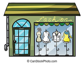 a clothing store - illustration of a clothing store on a...