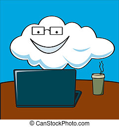A literal cartoon depiction of the term cloud computing showing a cloud on a computer.