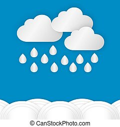 A cloud with rain drop over water or sea against blue sky background in rainy day of rain season