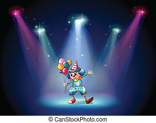 Illustration of a clown at the center of the stage