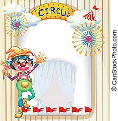 A clown at the circus entrance