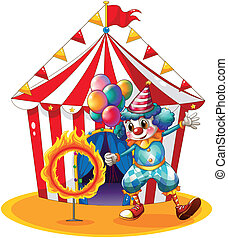 A clown holding balloons near the ring of fire -...