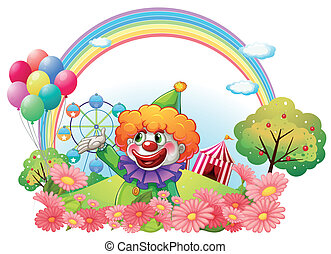 A clown in an amusement park