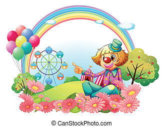 A clown in the carnival with a garden