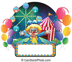 A clown in the carnival with an empty signage - Illustration...
