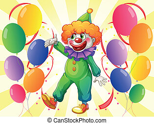 A clown in the middle of the balloons