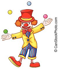 A clown juggling