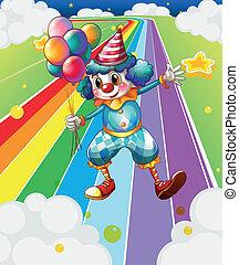 a, clown, mit, luftballone, an, der, bunte, straße