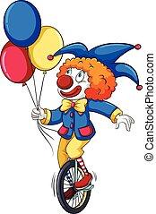 a, clown, mit, luftballone