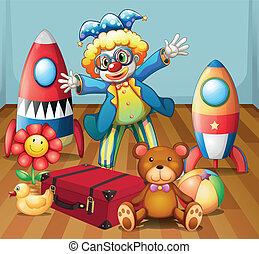 a, clown, mit, viele, spielzeuge
