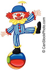 A Clown on Colourful Ball