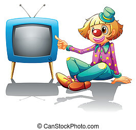 A clown sitting beside the television