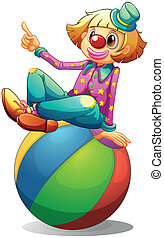 A clown sitting on a ball