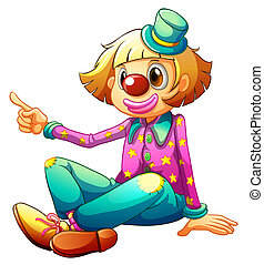 A clown sitting while pointing