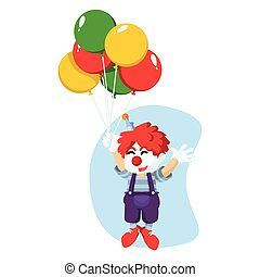 a clown was flying with balloons