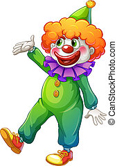 A clown wearing a green costume - Illustration of a clown...
