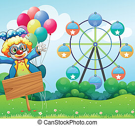 Illustration of a clown with balloons and the empty signage