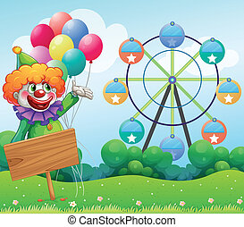 A clown with balloons at the back of an empty board -...