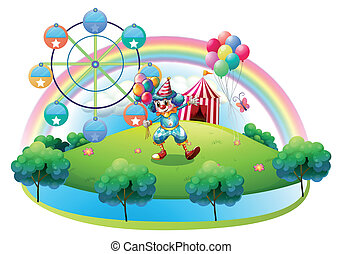 A clown with balloons at the carnival in the island