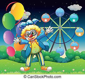 A clown with balloons near the ferris wheel
