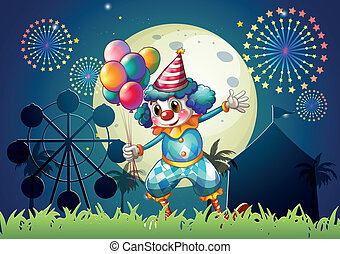 A clown with balloons standing in front of the carnival