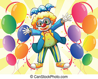 A clown with colorful party balloons