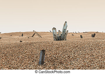 A cluster of magic crystal gather together in the desert, 3d rendering.
