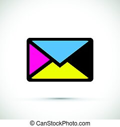 A cmyk envelope on white background
