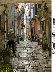 a cobbled street in the old town of  Rovinj